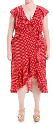 Max Studio Plus Printed Ruffle Wrap Dress
