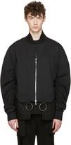 D.gnak By Kang.d Black Shirring Sleeves Bomber Jacket