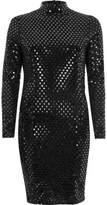 River Island Womens Metallic black turtleneck mini dress