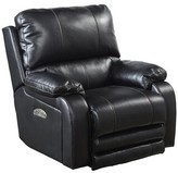 Uvalda Headrest/Lumbar Support Lay Flat Power Recliner Red Barrel Studio Fabric: Black Faux leather