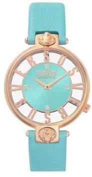 Versace Kristenhof Transparent Dial Swarovski Crystal Leather-Strap Watch