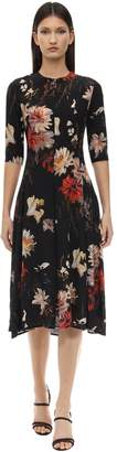 L'Autre Chose LONG FLORAL PRINT SHANTUNG DRESS