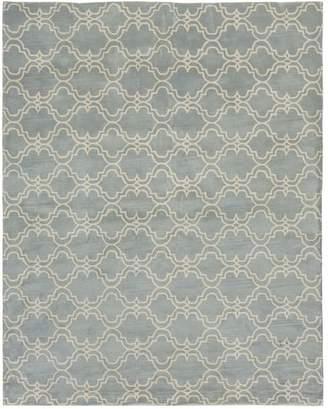 Pottery Barn Scroll Tile Tufted Rug, 5' X 8', Porcelain Blue/Ivory