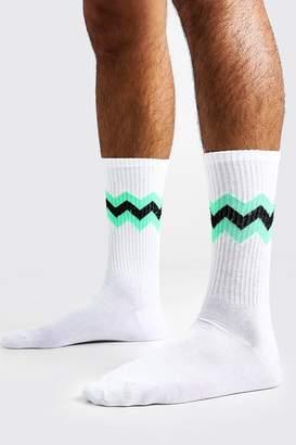 boohoo Neon Zig Zag Stripe Tube Socks