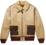 RRL - Willard Leather-trimmed Shearling Jacket - Cream
