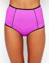 Asos Mix And Match Contrast High Waist Bikini Pant