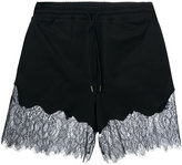 McQ by Alexander McQueen lace trim drawstring shorts - women - Cotton/Polyamide/Polyester - S