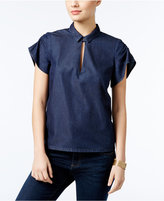 GUESS Ruched Cutout Shirt
