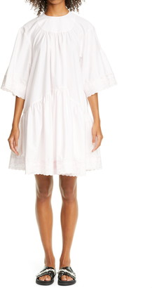 Simone Rocha Gathered Drop Waist Lace Trim Dress