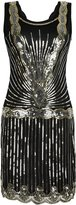 PrettyGuide Women 1920s Vintage Downton Art Deco Sequin Inspired Gatsby Flapper Dress L