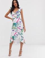 Asos Design DESIGN floral grid stripe ruffle bodycon midi dress
