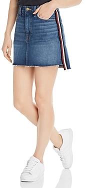 Frame Le Mini Raw-Edge Stagger Denim Skirt