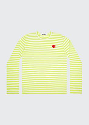 Comme des Garcons Men's Striped Long-Sleeve T-Shirt w/ Heart