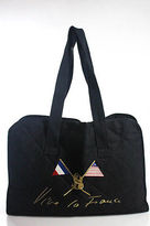Sonia Rykiel Black Cotton Quilted Embroidered Open Top Tote Handbag