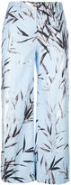 Blumarine leaves print cropped pants - women - Cotton/Spandex/Elastane - 38