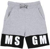 MSGM Logo Print Two Tone Cotton Sweat Shorts