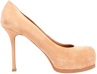 Saint Laurent Trib Too Pink Suede Heels