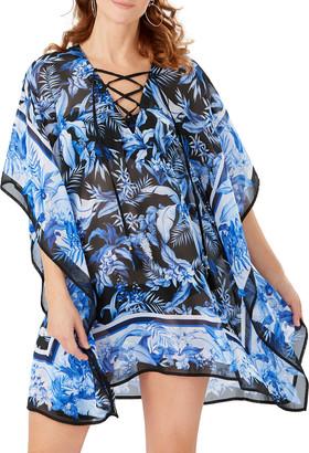 Tommy Bahama Indigo Garden Lace Up Coverup Tunic