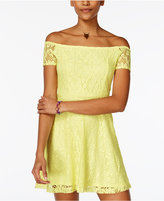 Planet Gold Juniors' Leasa Off-The-Shoulder Lace Dress