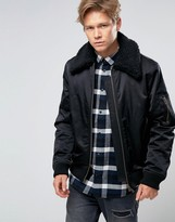 Weekday Pile Fleece Collar Bomber Jacket