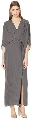 Halston Kimono Stripe Dress (Black/Linen White Tera Stripe) Women's Clothing