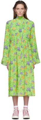 Les Rêveries Green Floral Silk Dress