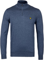 Lyle & Scott Blue Marl Quarter Zip Cotton Merino Sweater