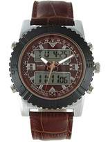 TIMETECH Men's Analog Digital Multi-Function Weekend Sport Watch with Brown Leather Wrist Band