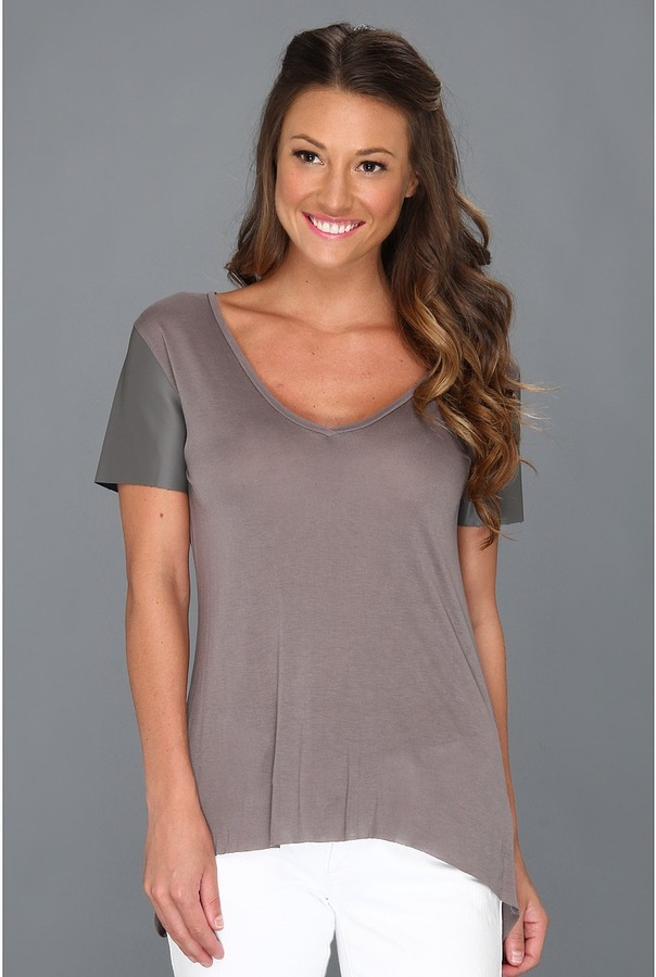 BCBGeneration BCBGeneraion Leaher Sleeved Top Women's Shor Sleeve Kni