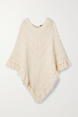 Nili Lotan Pauline Fringed Cable-knit Alpaca-blend Poncho - Cream