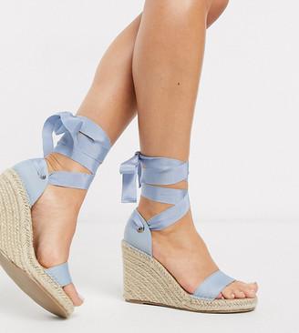 ASOS DESIGN Wide Fit Treat tie leg espadrille wedge sandals in blue