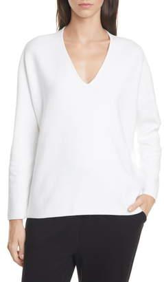 Eileen Fisher V-Neck Boxy Organic Cotton Blend Top