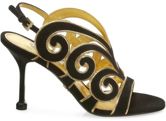 Prada Butterfly Leather Slingback Sandals