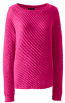 Classic Women's Plus Size Lofty Textured Mix Stitch Boatneck Sweater-Bright Scarlet