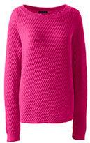 Lands' End Women's Petite Lofty Textured Mix Stitch Boatneck Sweater-True Navy