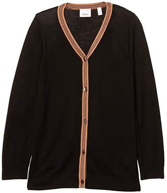 BURBERRY KIDS Icon Stripe Cardigan (Little Kids/Big Kids) (Black) Girl's Clothing