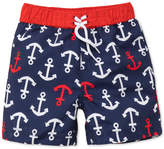 Little Me Anchor-Print Swim Trunks, Baby Boys
