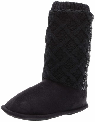 Isotoner Women's Sweater Knit Tessa Tall Boot House Slipper with All Around Memory Foam Comfort Black