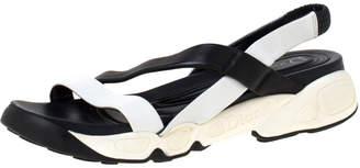 Christian Dior Black/White Leather Cross Strap Slingback Flat Sandals Size 36.5