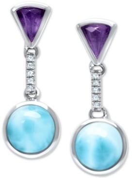 Marahlago Larimar (8mm) & Multi-Gemstone Drop Earrings in Sterling Silver