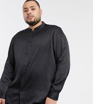 ASOS DESIGN Plus regular fit mandarin collar satin shirt in black