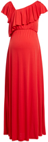 Glam Red Ruffle-Neck Maternity Maxi Dress