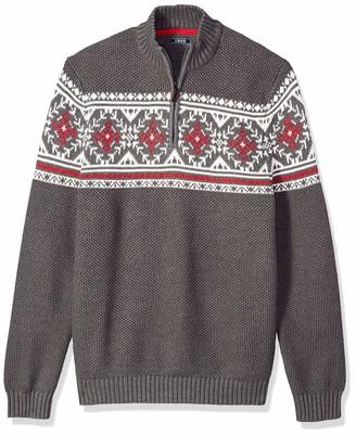 Izod Men's Big Fairisle Quarter Zip 5 Gauge Sweater