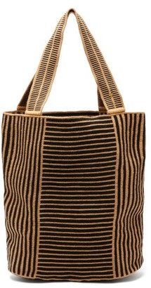 Guanabana - Liam Striped Panelled Woven Tote Bag - Black Beige