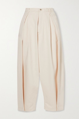 Loewe Cropped Pleated High-rise Jeans - Ivory