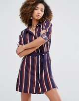 Glamorous Stripe Shirt Dress With Tie Waist