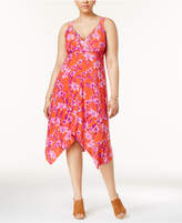 INC International Concepts Plus Size Printed Handkerchief-Hem Dress, Created for Macy's