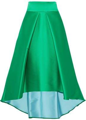 Milly Flared Pleated Duchesse-satin Skirt