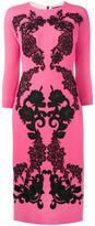 Dolce & Gabbana rose embroidered crepe dress - women - Wool/Silk/Spandex/Elastane/Cotton - 40