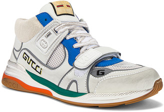 Gucci G Line Mid Low Top Sneaker in Blue & Silver & White | FWRD